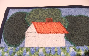 farmhouse and trees quilting